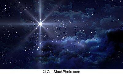파랑, 밤, 별이 많은