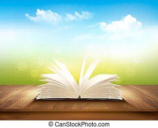 파랑, 배경막., 갑판, 멍청한, 책, 녹색, vector., 열려라