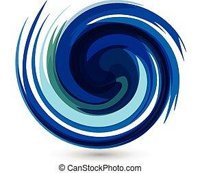 파랑, 벡터, 물, 튀김, 파도, 로고