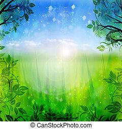 파랑, 봄, 녹색의 배경