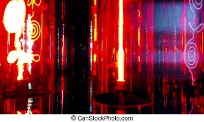 파랑, 빛, 램프, 제비꽃, 형광성의, 빨강