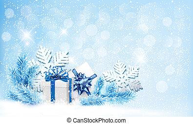 파랑, 선물, snowflakes., 상자, 벡터, 배경, 크리스마스
