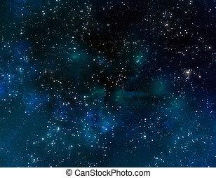 파랑, 성운, 구름, 공간