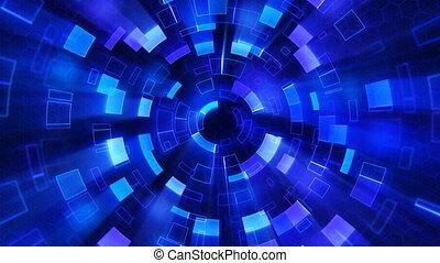 파랑, 세그먼트, 빛나는, 고리, 안내장