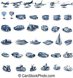 파랑, 수송, 아이콘