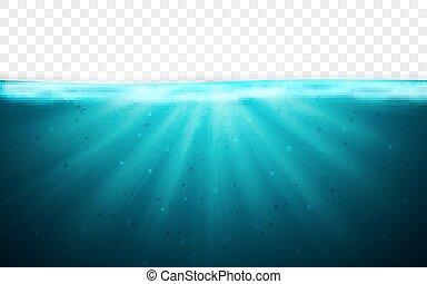 파랑, 수중 사진, 삽화, 바다 물, 배경., 벡터, 수평선, surface., 투명한