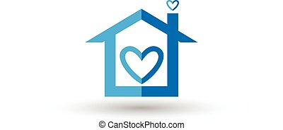 파랑, 심장, 벡터, 로고, 집