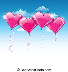 파랑, 심혼은 형성했다, 하늘, 에, 삽화, 벡터, 기구