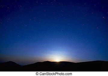 파랑, 어두운 하늘, 은 주연시킨다, 밤
