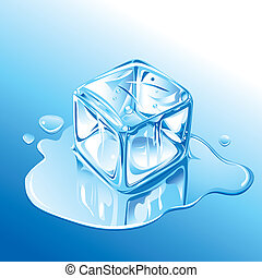 파랑, 용해, 입방체, 얼음