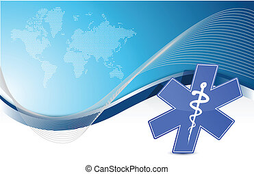 파랑, 의학 상징, 배경, 파도