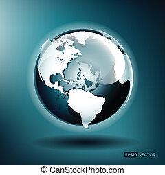파랑 지구, 삽화, 벡터, 광택 인화, 배경
