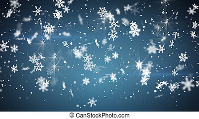 파랑, 크리스마스, 배경, 강설
