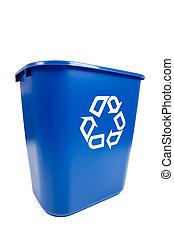 파랑, 큰 상자, 재활용, -, recucle, 환경, 주제