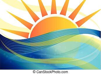 파랑, 태양 배경, 파도
