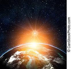 파랑, 태양, 솟는, 지구, 공간
