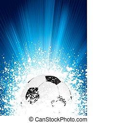 파랑, 포스터, 축구, eps, burst., 빛, 8