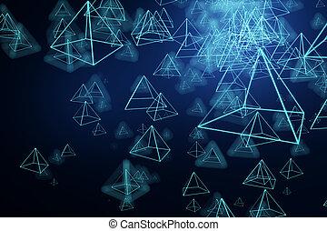 파랑, 피라미드, 배경