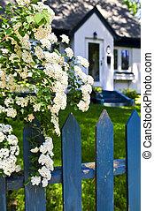 파랑, 하얀 꽃, 고매하다