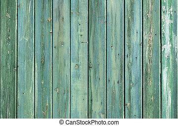 파랑, 흘리다, 나무로 되는 벽, consisiting, 녹색, 두꺼운 널판지