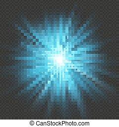 파랑, 10, 별 파열, effect., 너울거리다, 고립된, eps, 배경., 빛 폭발, 투명한, 백열