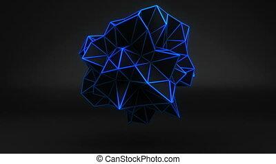 파랑, 3차원, polygonal, 모양, black., 고리, 백열