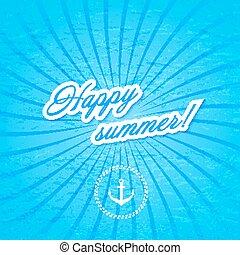 파랑, illustration., 벡터, 배경, water., anchor.