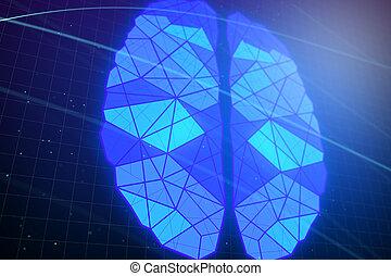 파랑, polygonal, 백열하는 것, 배경, 뇌