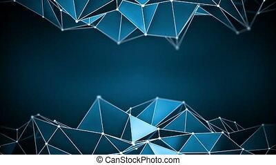 파랑, render, 진동하는, polygonal, 모양, 광택 인화, 고리, 3차원