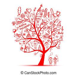파티, 디자인, 너의, 나무