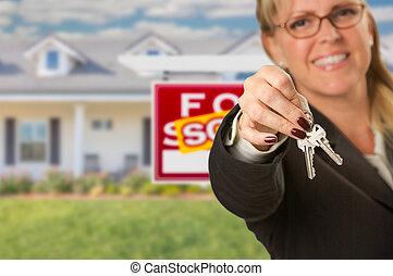 팔린다, 재산, 위의, 새로운, 대리인, 집, 남아서, 건네는 것, 키, 실상의, 표시