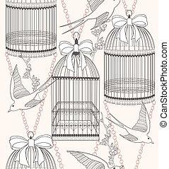 패턴, 꽃, seamless, 새