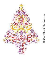 패턴, 나무, 크리스마스