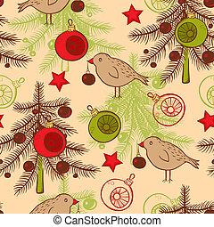 패턴, 나무, seamless, 크리스마스, 새