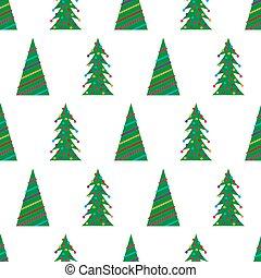 패턴, 녹색, 크리스마스 나무, seamless