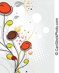 패턴, 다채로운, 떼어내다, 꽃, 봄
