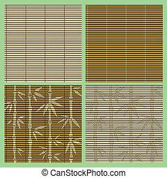 패턴, 대나무, 세트, seamless