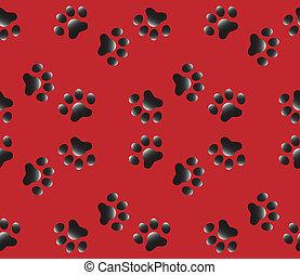패턴, 발, 개, seamless