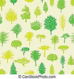 패턴, 실루엣, 숲, 나무, seamless
