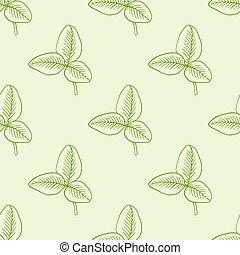 패턴, 잎, 녹색, 클로버