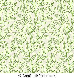 패턴, 잎, 녹색, seamless