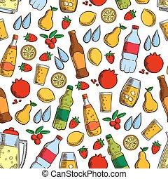 패턴, 차가운 마실 것, seamless, 과일