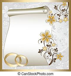 패턴, 카드, 결혼식, 꽃의