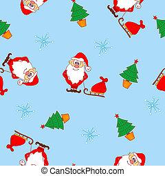 패턴, claus, seamless, santa, 크리스마스