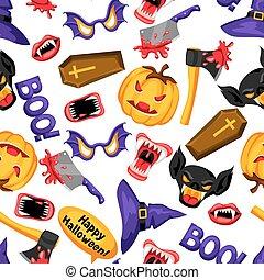 패턴, halloween, seamless, 상징, 휴일, 만화, 행복하다