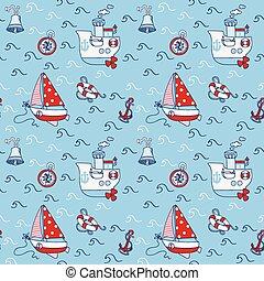 패턴, -, seamless, 벡터, 디자인, 바다, 항해의, 스크랩북