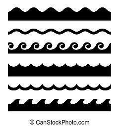 패턴, set., seamless, 파도, 벡터, 본뜨는 공구