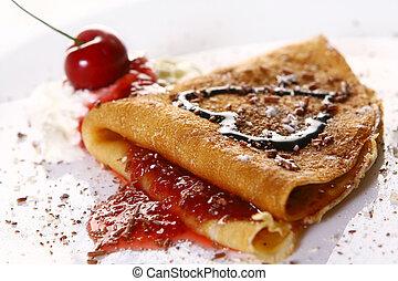 팬케이크, 접시, witn, 딸기, 디저트