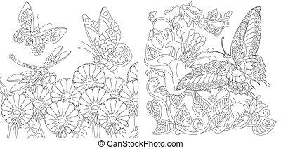 페이지, 채색, 나비