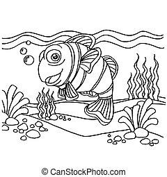 페이지, 채색, 벡터, clownfish